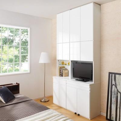家具 収納 本棚 ラック シェルフ CDラック DVDラック LEDライト付きコレクションシェルフ 引き出し付き 幅58cm 554101