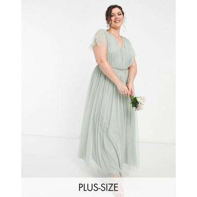 アナヤ プラス Anaya Plus レディース パーティードレス マキシ丈 Anaya With Love Plus Bridesmaid Tulle Cap Sleeve Maxi Dress In Sage セージ