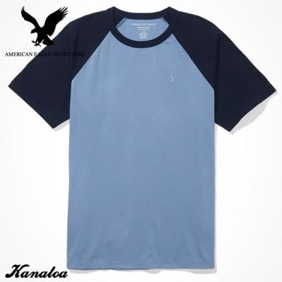 アメリカンイーグル Tシャツ 半袖 メンズ 無地 ブロックカラー クルーネック ブルー 大きいサイズあり