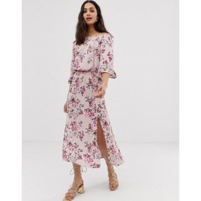 エンクリーム レディース ワンピース トップス En Creme off shoulder floral midi dress
