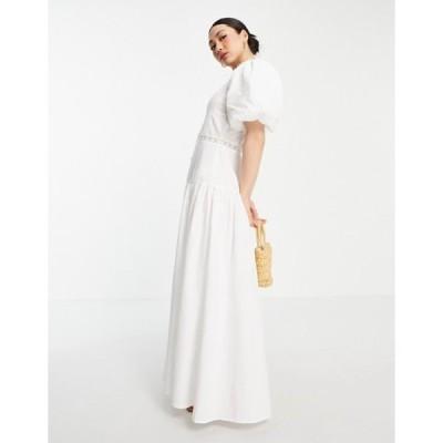 エイソス レディース ワンピース トップス ASOS DESIGN pintuck maxi dress with lace insert in white