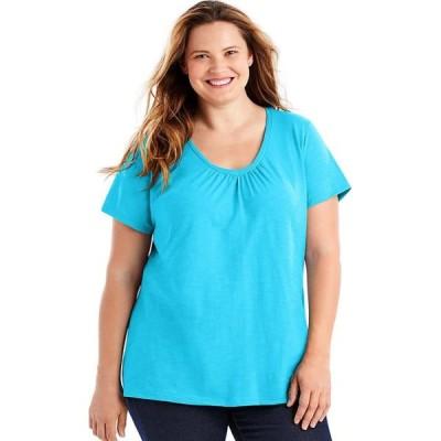 レディース 衣類 トップス Just My Size Slub-Cotton Short-Sleeve Shirred V-Neck Women's Tee - OJ193 Tシャツ