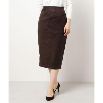 スカート エコスエード素材のタイトスカート