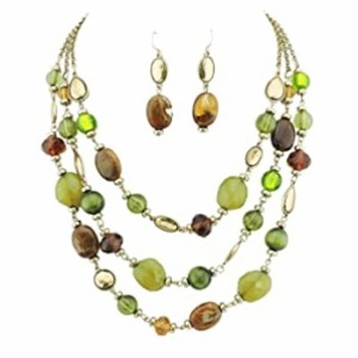 Firstmeet 3 Layers Statement Collar Necklace for Women with earings (XL-1087-green)