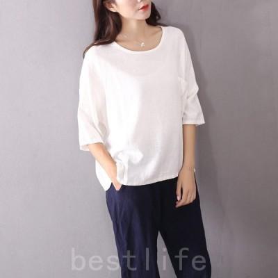 Tシャツレディースおしゃれ半袖安い無地カットオフ春夏コットンスラブTシャツ白ホワイトラウンドネックゆったりコットンリネン