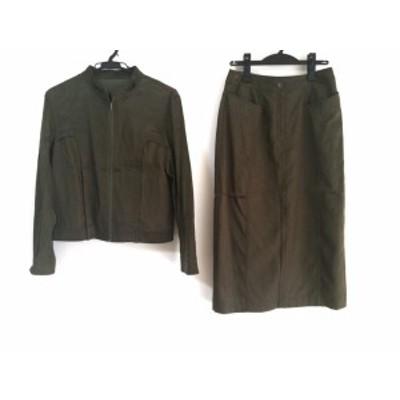 ヒロコビス HIROKO BIS スカートセットアップ サイズ9 M レディース - カーキ【中古】20201106