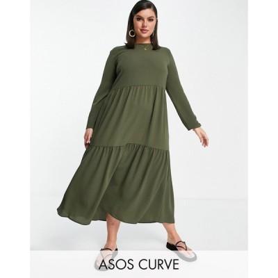エイソス ASOS Curve レディース ワンピース Aライン ワンピース・ドレス ASOS DESIGN Curve long sleeve tiered smock midi dress in khaki カーキ
