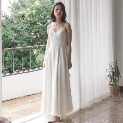 ウエディングドレス カスタム二次会 シンプル ロングドレス 結婚式 エレガント 花嫁 オーダーメイド 前撮り