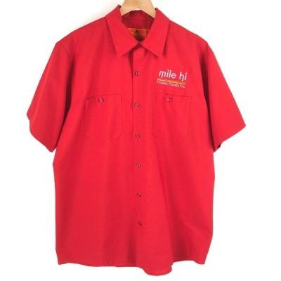 【古着】 REDCAP レッドキャップ ワークシャツ mile hi ワンポイント刺繍 半袖 レッド系 メンズL n004458