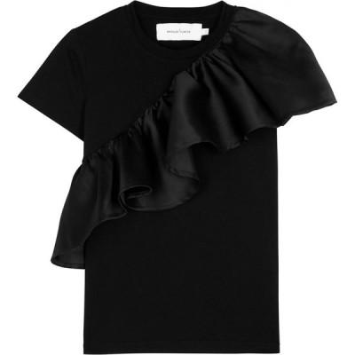 マルケス アルメイダ MARQUES ALMEIDA レディース Tシャツ トップス black ruffle-trimmed cotton t-shirt Black