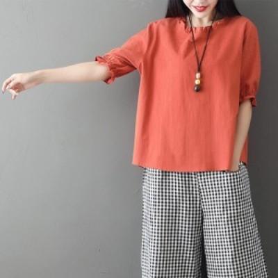 春新作 レディース ラウンドネック パフスリーブ 半袖 Tシャツ 刺繍