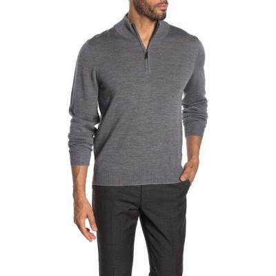 トーマスディーン メンズ ニット&セーター アウター Quarter Zip Wool Blend Sweater MED GREY