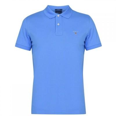 ガント Gant メンズ ポロシャツ 半袖 トップス Original Pique Short Sleeve Polo Shirt Blue