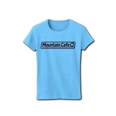Mountain Cafe ロゴ(K) リブクルーネックTシャツ(ライトブルー)