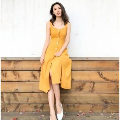 ミモレ丈 ワンピース ノースリーブ ジャンパースカート フロントボタン イエロー 夏服 秋服 韓国 ファッション