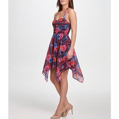 ゲス レディース ワンピース トップス Halter Floral Print Stripe Chiffon Asymmetric Hem Dress