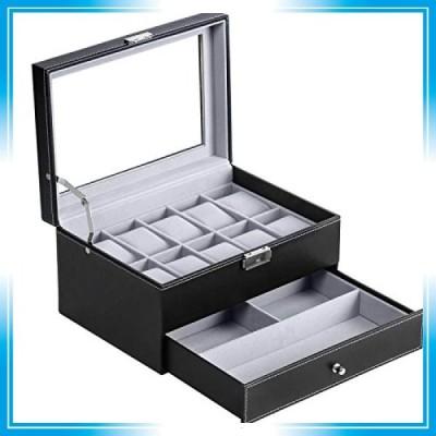 BASTUO 腕時計ケース、腕時計収納ボックス、透明ガラス蓋アクセサリーケース、表面革製、ブラック、10本