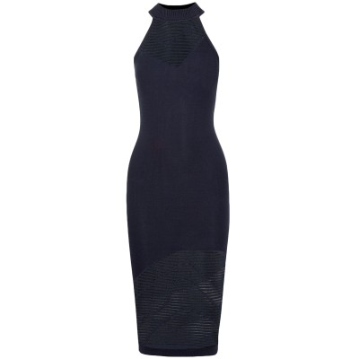 クシュニー・エ・オクス CUSHNIE 7分丈ワンピース・ドレス ダークブルー S ナイロン 100% / ポリエステル 7分丈ワンピース・ドレス