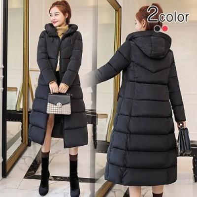 中綿コート レディース ロング ミモレ丈 大きいサイズ aライン フード スタンドカラー 無地 シンプル キルティング コート
