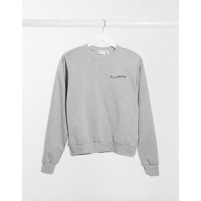 エイソス レディース シャツ トップス ASOS DESIGN slogan sweatshirt with padded shoulders in gray heather Gray heather
