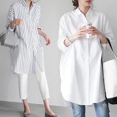 レディースシャツストライプ柄長袖シャツオーバーサイズヒップ丈無地ワイシャツ白ブラウスカジュアルシャツ通勤重ね着清潔感