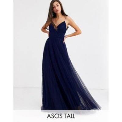 エイソス レディース ワンピース トップス ASOS DESIGN Tall cami pleated tulle maxi dress Navy