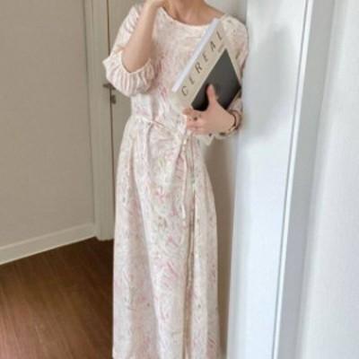 2色 マーブル柄 ワンピース ロング丈 ピンク グレー レディース ファッション 韓国 オルチャン