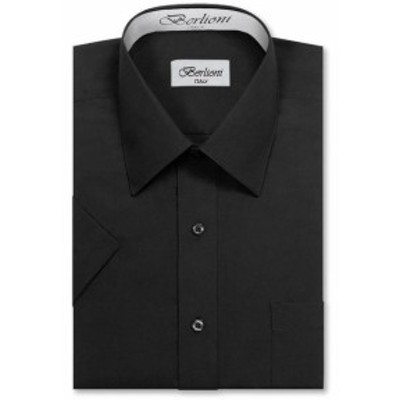 ファッション ドレス Berlioni Italy Mens Premium Classic Button Down Short Sleeve Solid Dress Shirt