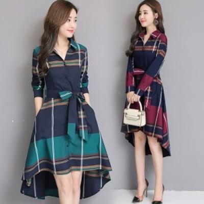 【 S ~ 3XL 】 大きいサイズ レディース 春 秋 チェック柄 ファッション ドレス スカート フィッシュ テール 3l 2XL 2l