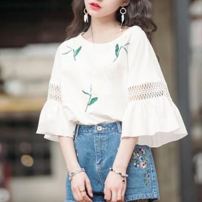 韓国ファッション オシャレ Tシャツ レディーストップス ブラウス 七分袖ゆったり綿麻トップス 大きいサイズ無地 大人セクシー 可愛い半袖 T-shirts セクシー