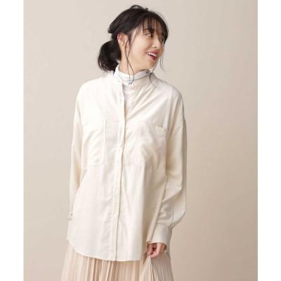 ライトコールスタンドカラーシャツ オートミール3