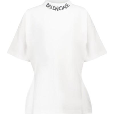 バレンシアガ Balenciaga レディース Tシャツ トップス logo cotton jersey t-shirt White/Black
