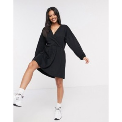 エイソス レディース ワンピース トップス ASOS DESIGN wrap front long sleeve smock dress in black Black