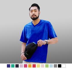 【男人幫】大尺碼T0074*厚款素色V領T恤