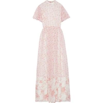 ミカエル アガール MIKAEL AGHAL レディース ワンピース マキシ丈 ワンピース・ドレス pleated floral-print chiffon maxi dress Baby pink