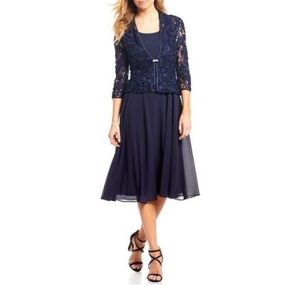 ジェシカハワード レディース ワンピース トップス Petite Size Soutache Lace Midi Jacket Dress