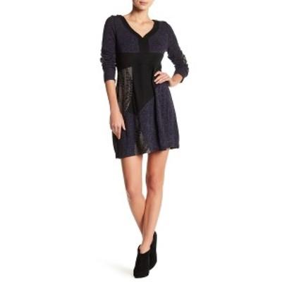 パピロン レディース ワンピース トップス Colorblock Knit Panel Sweater Dress NAVY MULTI