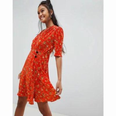 エイソス ワンピース ditsy print plisse mini dress with button detail Ditsy print