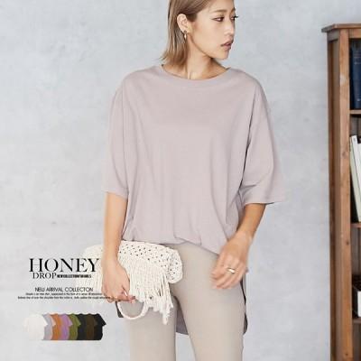 Tシャツ レディース 春夏 5分袖 丸首 ラウンドヘム 大きめ トップス 綿 シンプル 無地 ゆったり 黒