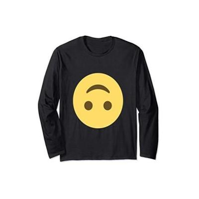 絵文字逆さまの顔スマイルジョークスマイリー絵文字テキストメッセージ 長袖Tシャツ