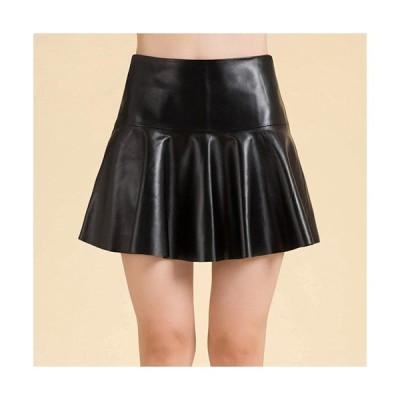 ラムレザースカート フレアースカート フリルスカート 裾切りっぱなし ミニスカート リアルレザースカート 着回しスカート 皮スカートQZ133