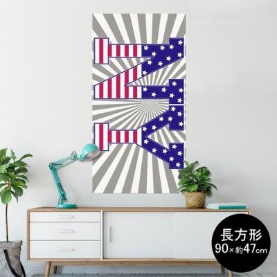 ポスター ウォールステッカー 長方形 シール式 90×47cm Lsize 壁 おしゃれ 剥がせる wall sticker poster 英語 文字 ロゴ 012016