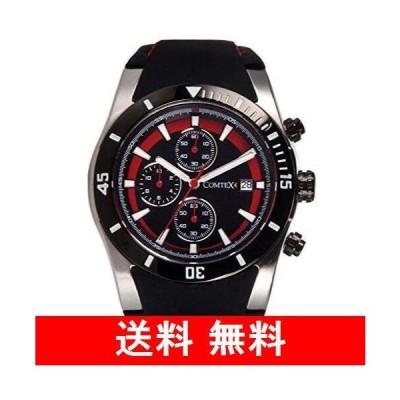 COMTEX 腕時計 ブラック ファッション スポーツ 多針 多機能 防水 アナログ ウオッチ 日本製クォーツ クロノグラフ シリコン ウォッチ メ