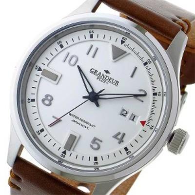 腕時計 メンズ グランドール GRANDEUR プラス PLUS クオーツ GRP005W1 ホワイト ホワイト