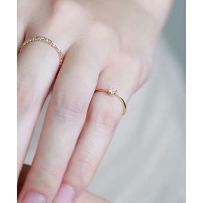 指輪 ひねりラインの一粒ダイヤリング