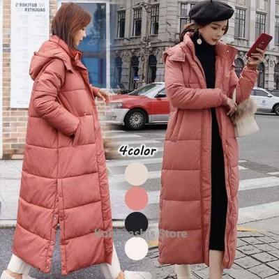 ダウンコートフード付き超ロングコートレディース大きいサイズ中綿コート20代30代冬アウターコート防寒服保温暖かい