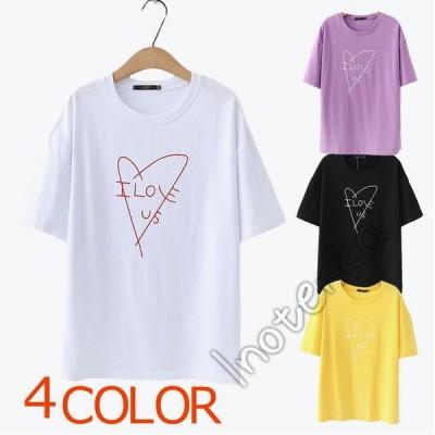 Tシャツ レディース 半袖 tシャツ トップス カットソー サマーウエア クルーネック ゆったり プリント柄 女性用Tシャツ 夏新作 カジュアル 可愛い