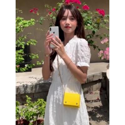 ホワイトドレス ウエストスリミング Vネック パフスリーブ ロングスカート
