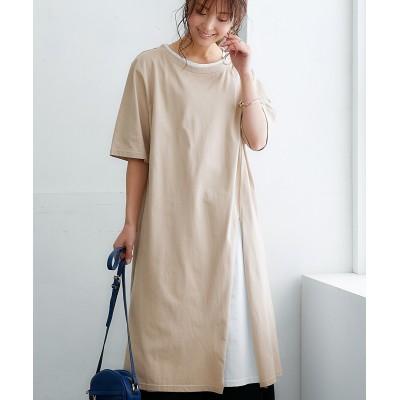【綿100%】レイヤード脇スリットワンピース ,スマイルランド, ワンピース, plus size dress