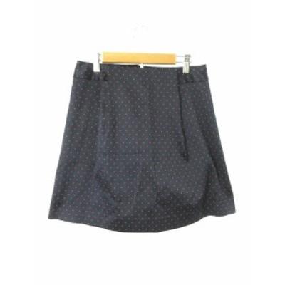 【中古】スピック&スパン ノーブル Spick&Span Noble スカート 台形 ひざ丈 総柄 38 紺 ネイビー ロイヤルブルー レディース